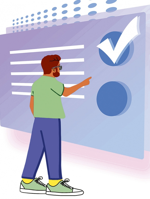 Student choosing answer from checkbox. Distant exam, online test - flat illustration